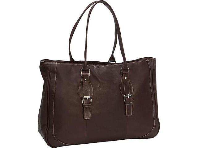 Piel 2762-CHC Chocolate Shoulder Buckle Tote