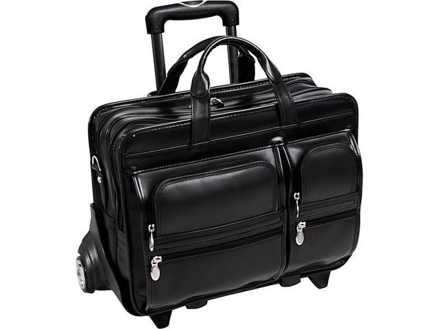 McKlein USA Clinton Leather Wheeled 17in. Laptop Case