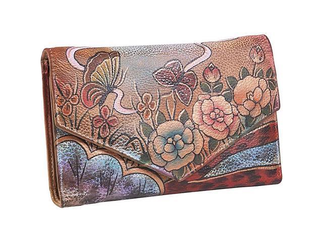 Anuschka V-Flap Checkbook Wallet - Premium Rose Antique