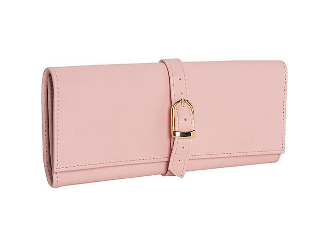 Royce Leather Suede Lined Jewelry Roll, Carnation Pink - 915-CP-5
