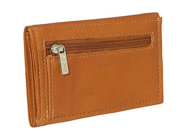 Piel Leather Large Tri-Fold Wallet, Saddle - 2682
