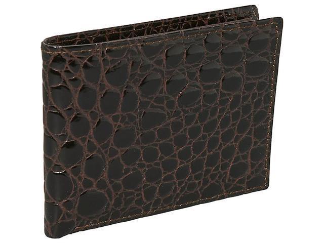 Budd Leather Crocodile Bidente Slim Wallet
