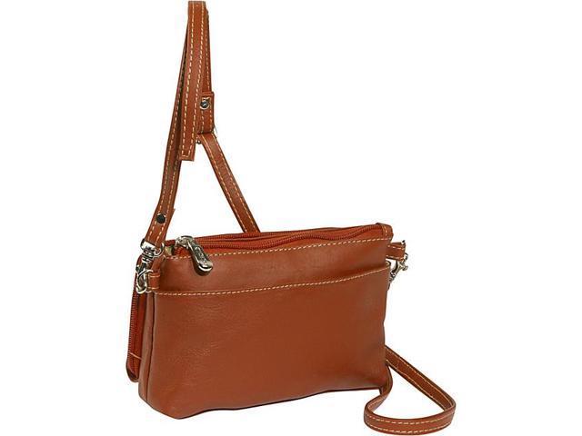 Piel Leather Shoulder Bag/Wristlet, Saddle - 2860