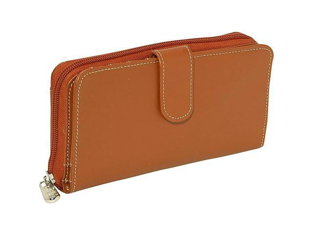 Piel Leather Ladies Multi-Compartment Wallet, Saddle - 2861