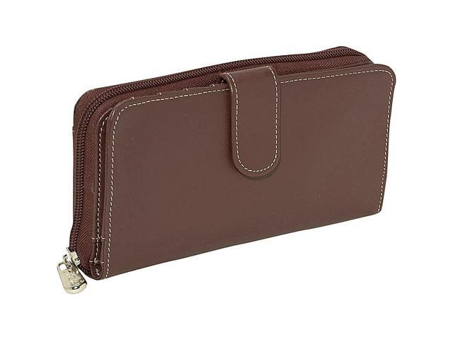 Piel Leather Ladies Multi-Compartment Wallet, Chocolate - 2861-CHC