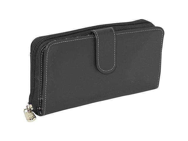 Piel Leather Ladies Multi-Compartment Wallet, Black - 2861-BLK