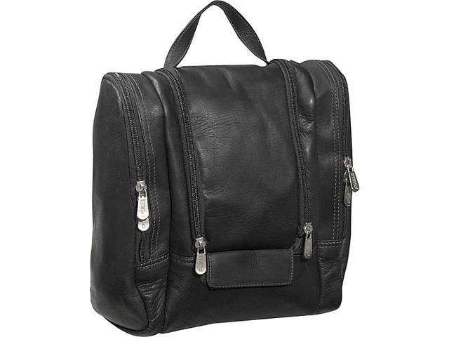 Piel Leather Hanging Travel Toiletry Kit, Black - 2460-BLK