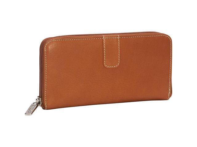 Piel Leather Zip Around Wallet, Saddle - 2672