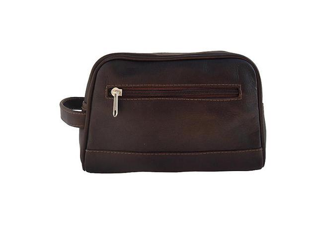 Piel Leather Top Zip Toiletry Kit , Chocolate - 7752-CHC