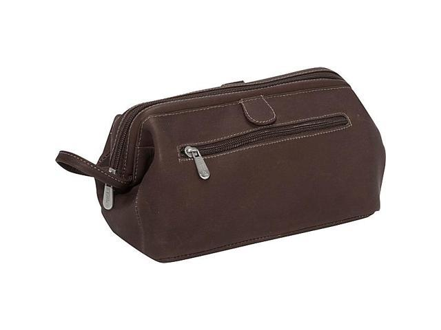 Piel Leather Deluxe Top Frame Traveling Kit, Chocolate - 9056-CHC