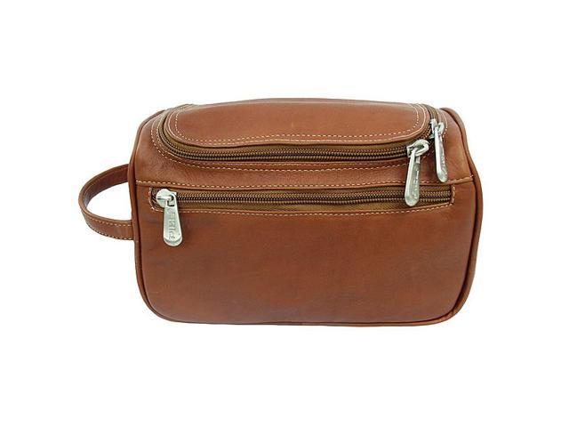 Piel Leather U-Zip Toiletry Kit, Saddle - 9436