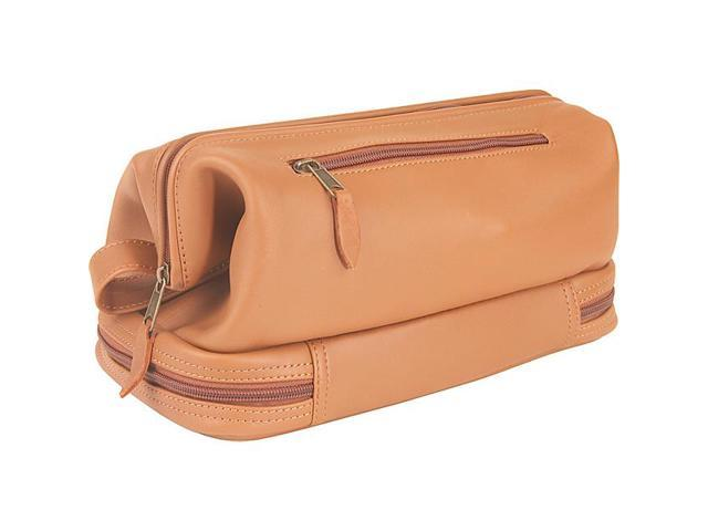 Royce Leather Toiletry Bag with Zippered Bottom Compartment, Tan - 260-TAN-3