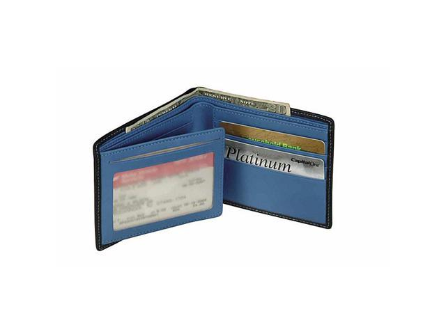 Royce Leather Men's Bifold Wallet With Double ID Flap, Black & Blue - 110-MCRB-5