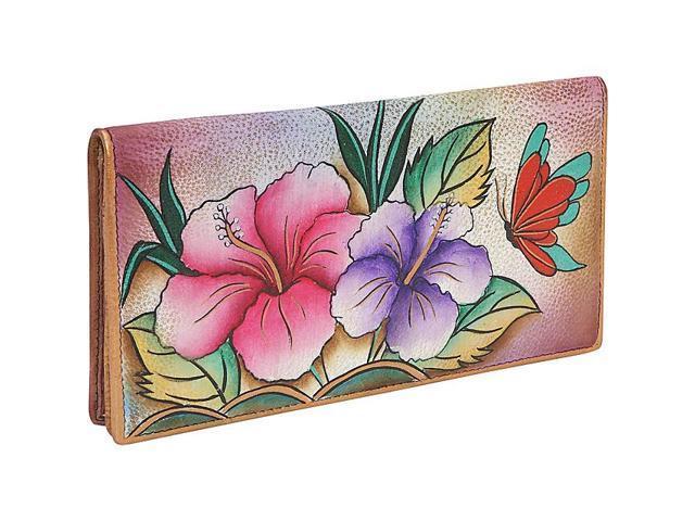 Anuschka Ladies 2 Fold Slim Wallet - Hawaiian Hibiscus