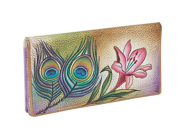 Anuschka Ladies 2 Fold Slim Wallet - Premium Peacock Flower