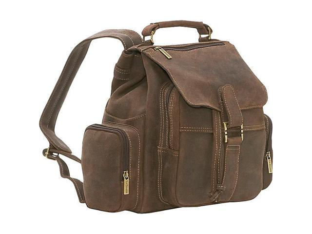 Le Donne Leather Distressed Leather Multi Pocket Back Pack