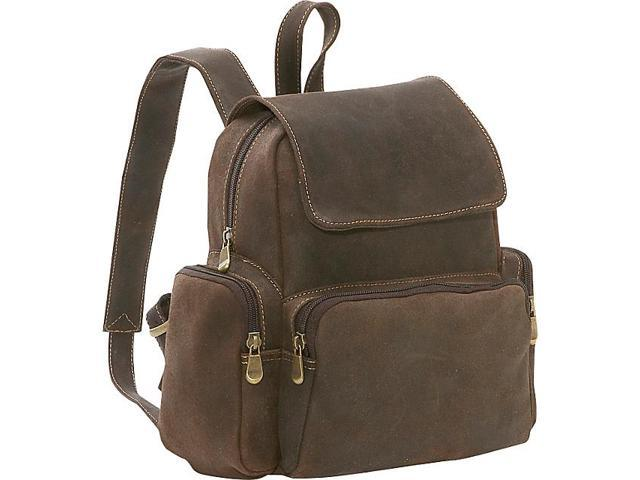 Le Donne Leather Distressed Leather Womens Multi Pocket Backpack
