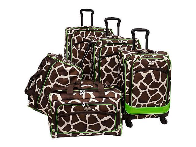 American Flyer Animal Print 5 Piece Spinner Luggage