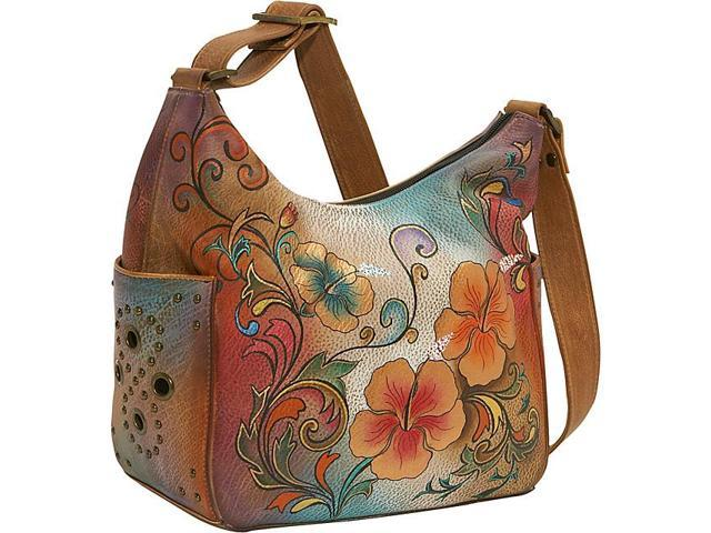 Anuschka Hobo with Side Pockets: Henna Floral