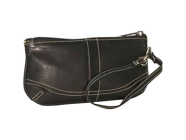 Piel Leather Large Ladies Wristlet, Black - 2768-BLK