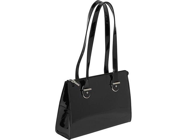 Jack Georges Patent Collection Top Zip Shoulder Handbag