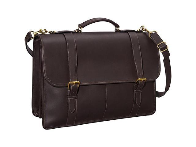 Jack Georges University Collection Oversized Laptop Brief w/ Buckle Closure Straps