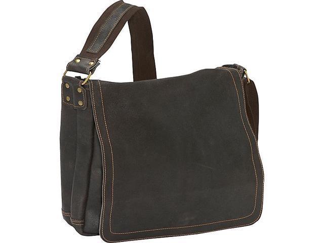 David King & Co. Distressed Leather Full Flap Laptop Messenger - M