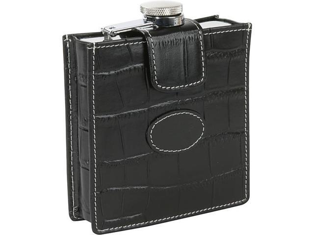 Royce Leather Flask w/Removable Croco Cover and Patch