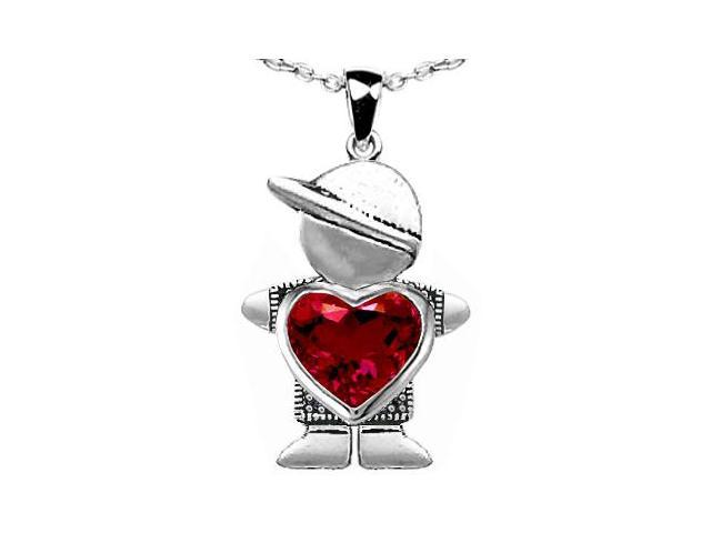 Star K Boy Holding 8mm Mother Heart July Birth Month Pendant Necklace with Created Ruby in Sterling Silver
