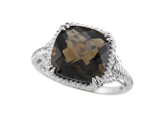 Genuine Smoky Quartz Ring by Effy Collection in 14 kt White Gold Size 4.5