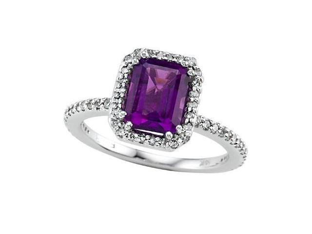 Genuine Amethyst Ring by Effy Collection in 14 kt White Gold Size 5