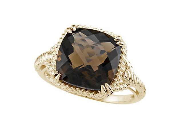 Genuine Smoky Quartz Ring by Effy Collection in 14 kt Yellow Gold Size 4.5