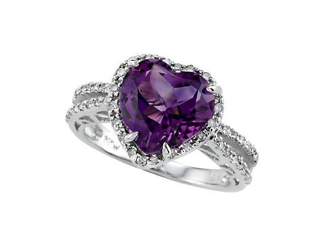 Genuine 10mm Amethyst Ring by Effy Collection in 14 kt White Gold Size 4