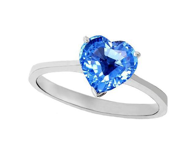 Tommaso Design Genuine Blue Topaz Heart Shape 8mm Solitaire Engagement Ring in 14 kt White Gold Size 8
