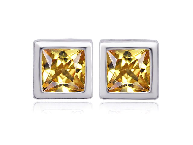 Star K 8mm Square Cut Simulated Imperial Yellow Topaz Earrings Studs in Sterling Silver