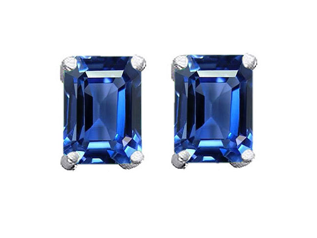 Star K 8x6mm Emerald Cut Simulated Sapphire Earrings in Sterling Silver