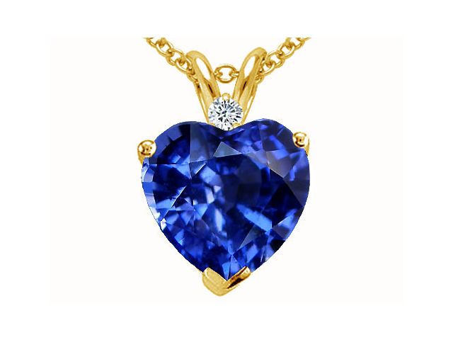 Tommaso Design 8mm Heart Shape Created Sapphire Heart Pendant in 14 kt Yellow Gold