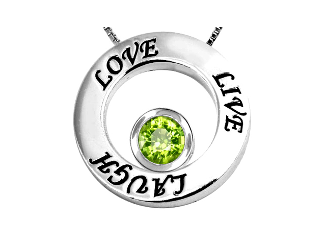 Star K Live/Love/Laugh Circle of Life Pendant with August Birth Month Round 7mm Simulated Peridot in Sterling Silver