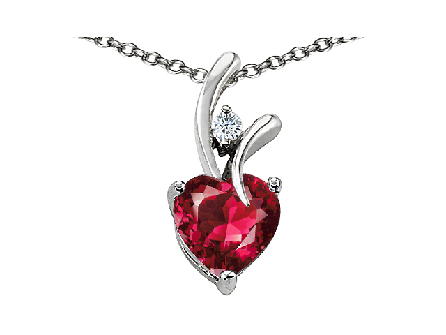 Star K 1.95 CTW Heart Shaped 8mm Created Ruby in Sterling Silver Pendant Necklace 18""