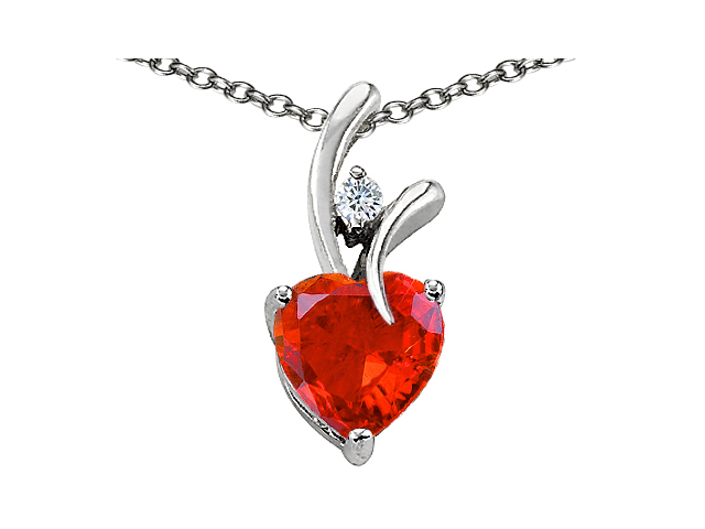 Original Star K(TM) Heart Shape 8mm Simulated Orange Mexican Fire Opal Pendant