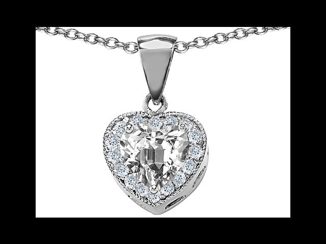 Original Star K(TM) 8mm Heart Shape White Topaz Heart Pendant