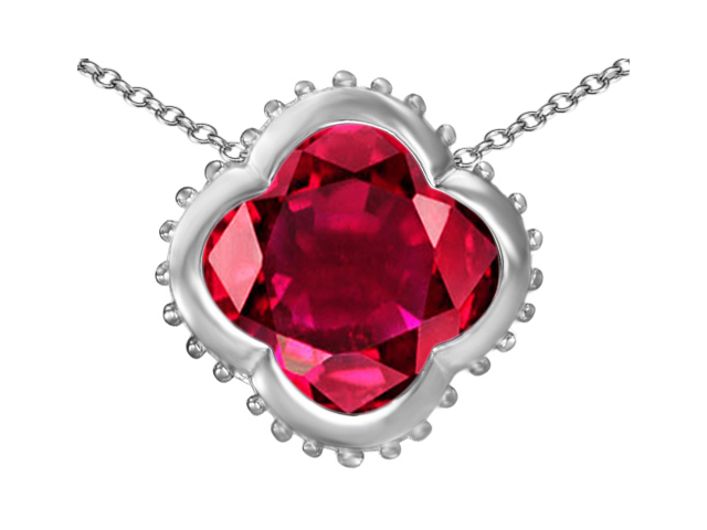 Star K Large Clover Pendant with 12mm Clover Cut Created Ruby in Sterling Silver