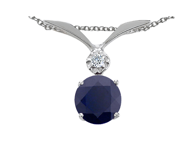 Tommaso Design Round 7mm Genuine Black Sapphire Pendant Necklace in 14 kt White Gold