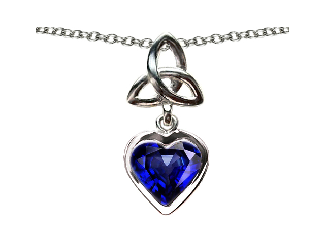 Celtic Love by Kelly Love Knot Pendant with Heart 9mm Simulated Sapphire in Sterling Silver