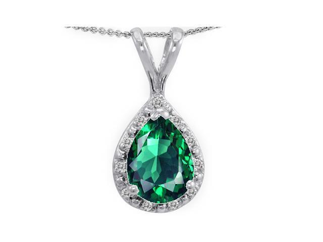 Tommaso Design Pear Shape Simulated Emerald Pendant in 14 kt White Gold