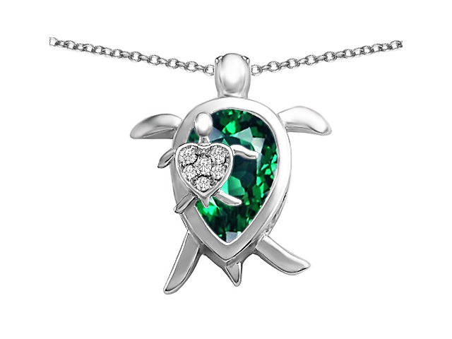 Star K Large Mother and Baby Turtle family Pendant with 12x8mm Pear Shape Simulated Emerald in Sterling Silver
