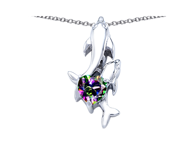 Star K 7mm Heart Shape Mystic Topaz Two Swimming Dolphin Pendant in Sterling Silver