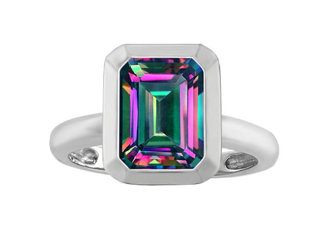 Star K 9x7mm Emerald Cut Octagon Solitaire Engagement Ring with Mystic Topaz in Sterling Silver Size 6