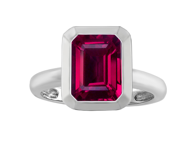 Star K 9x7mm Emerald Cut Octagon Solitaire Engagement Ring with Created Ruby in Sterling Silver Size 8