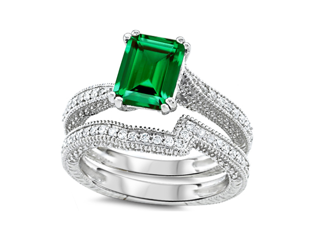 Star K Emerald Cut 8x6mm Simulated Emerald Engagement Wedding Set in Sterling Silver Size 6